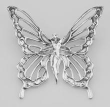 Art Nouveau Style Butterfly Fairy Pin - Sterling Silver #97727v2