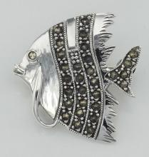 Marcasite Fish Pin - Sterling Silver #97725v2