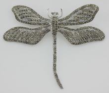 Marcasite Dragonfly Pin - Moving Wings - Sterling Silver #97726v2
