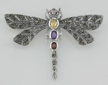 Multi Gemstone Marcasite Dragonfly Pin Sterling Silver #97732v2