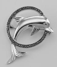 Jumping Dolphin and Marcasite Hoop Pin / Brooch - Sterling Silver #97706v2