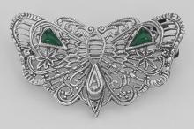 Art Deco Style Filigree Diamond Butterfly Pin - Sterling Silver #97723v2