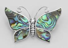 Abalone Shell Butterfly Pin / Brooch - Sterling Silver #97731v2