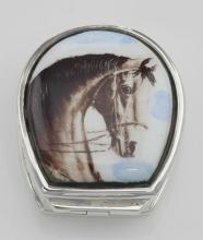 Class Porcelain Horse Head Sterling Silver Pillbox #PAPPS97361