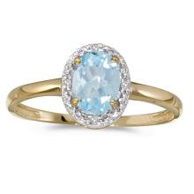 Certified 14k Yellow Gold Oval Aquamarine And Diamond Ring 0.58 CTW #50995v3