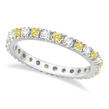 Fancy Yellow Canary and White Diamond Eternity Ring Band 14K Gold 1/2ct #20553v3
