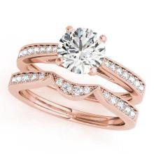 CERTIFIED 14KT ROSE GOLD .82 CT G-H/VS-SI1 DIAMOND BRIDAL SET #87910v3