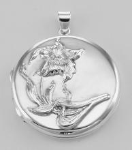 Sterling Silver Round Art Nouveau Style Locket - Large #PAPPS97267