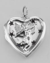 Cherub Heart Sterling Silver Locket Pendant with Blue CZs #PAPPS97266