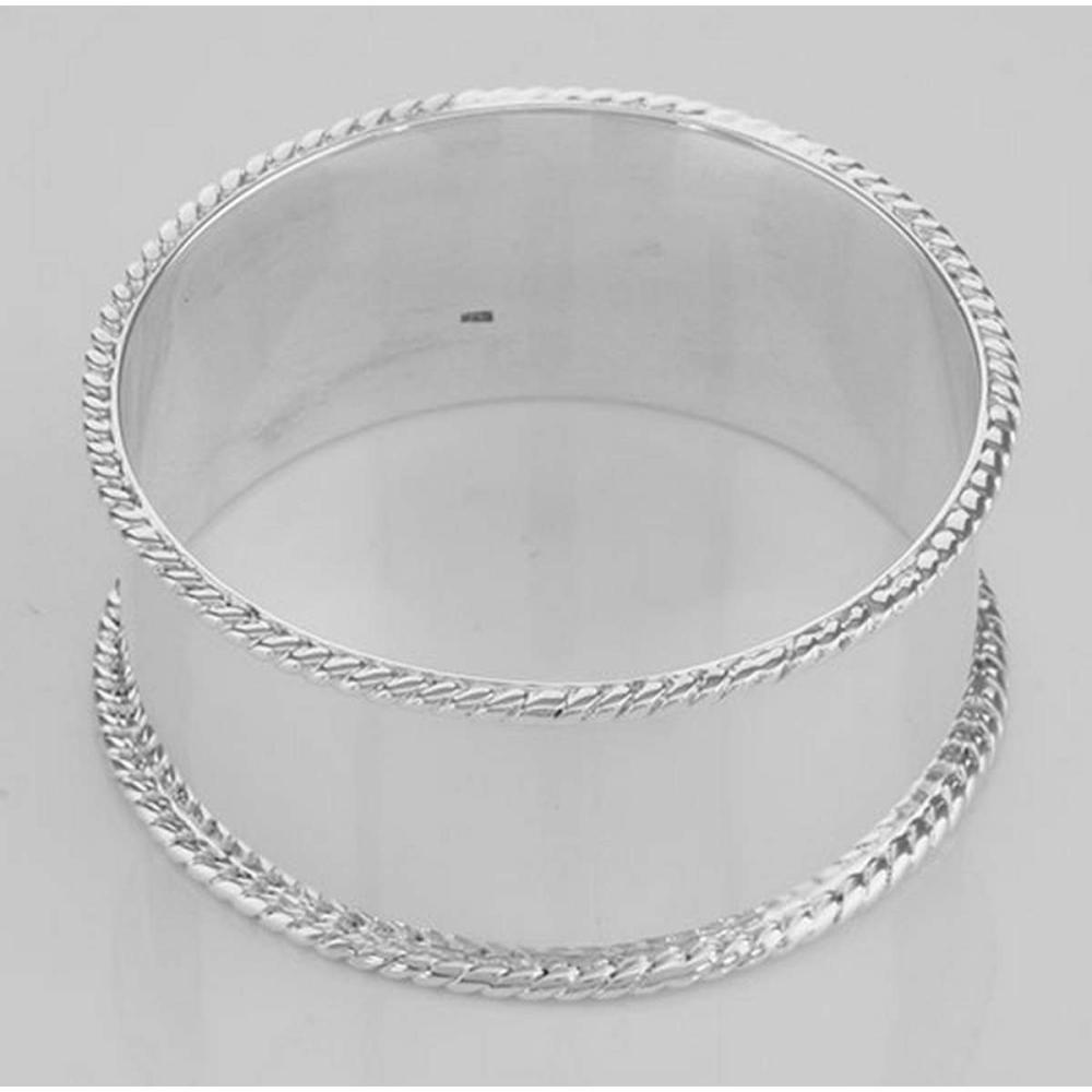Antique Style Rope Edge Sterling Silver Round Napkin Ring #PAPPS97721