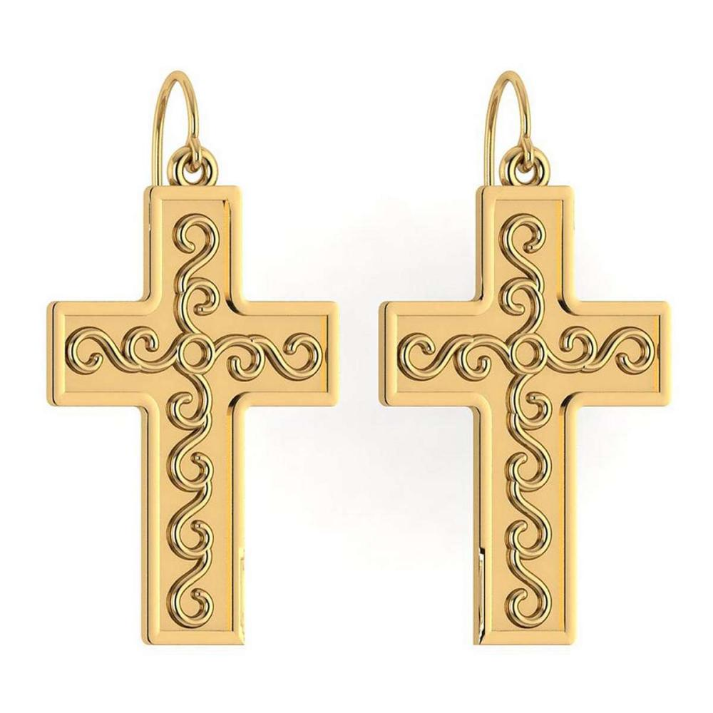 Gold Cross Wire Hook Earrings 14K Yellow Gold Made In Italy #PAPPS22202