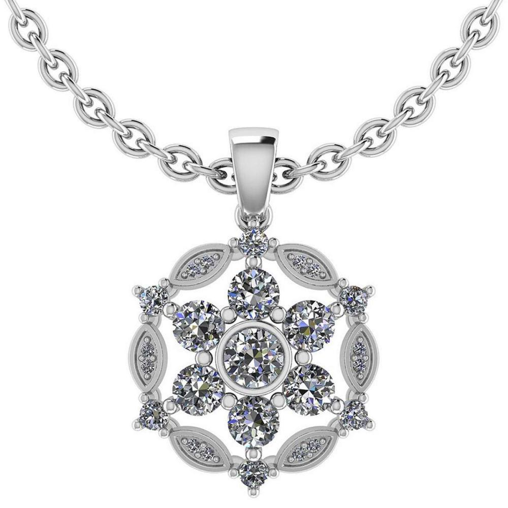 Certified 1.20 CTW Round Diamond 14K White Gold Pendant #PAPPS92304