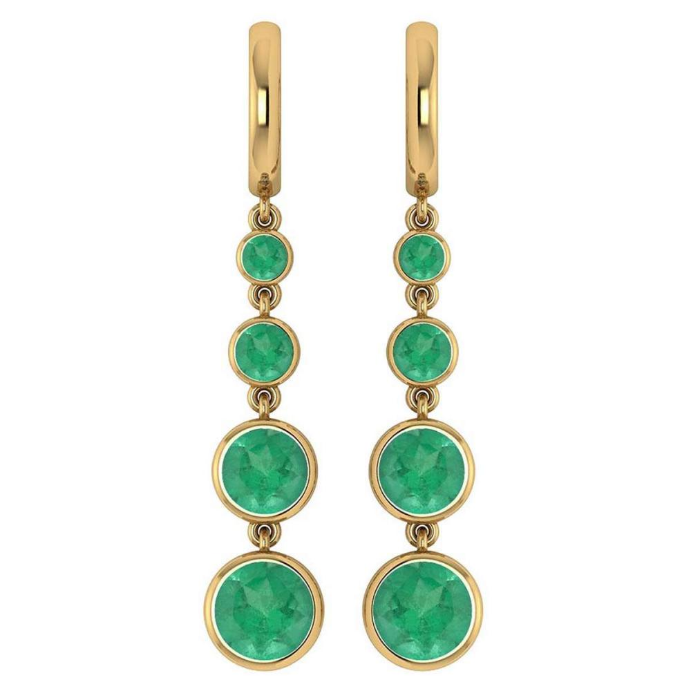 Certified 5.26 Ctw Emerald Drop Style Earrings For beautiful ladies 18K Yellow Gold #PAPPS19769