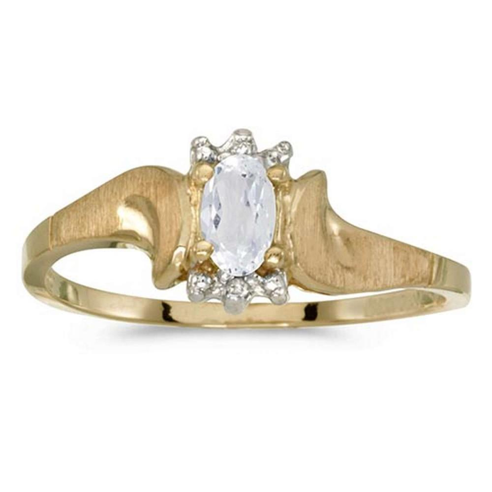 Certified 10k Yellow Gold Oval White Topaz And Diamond Satin Finish Ring #PAPPS50812