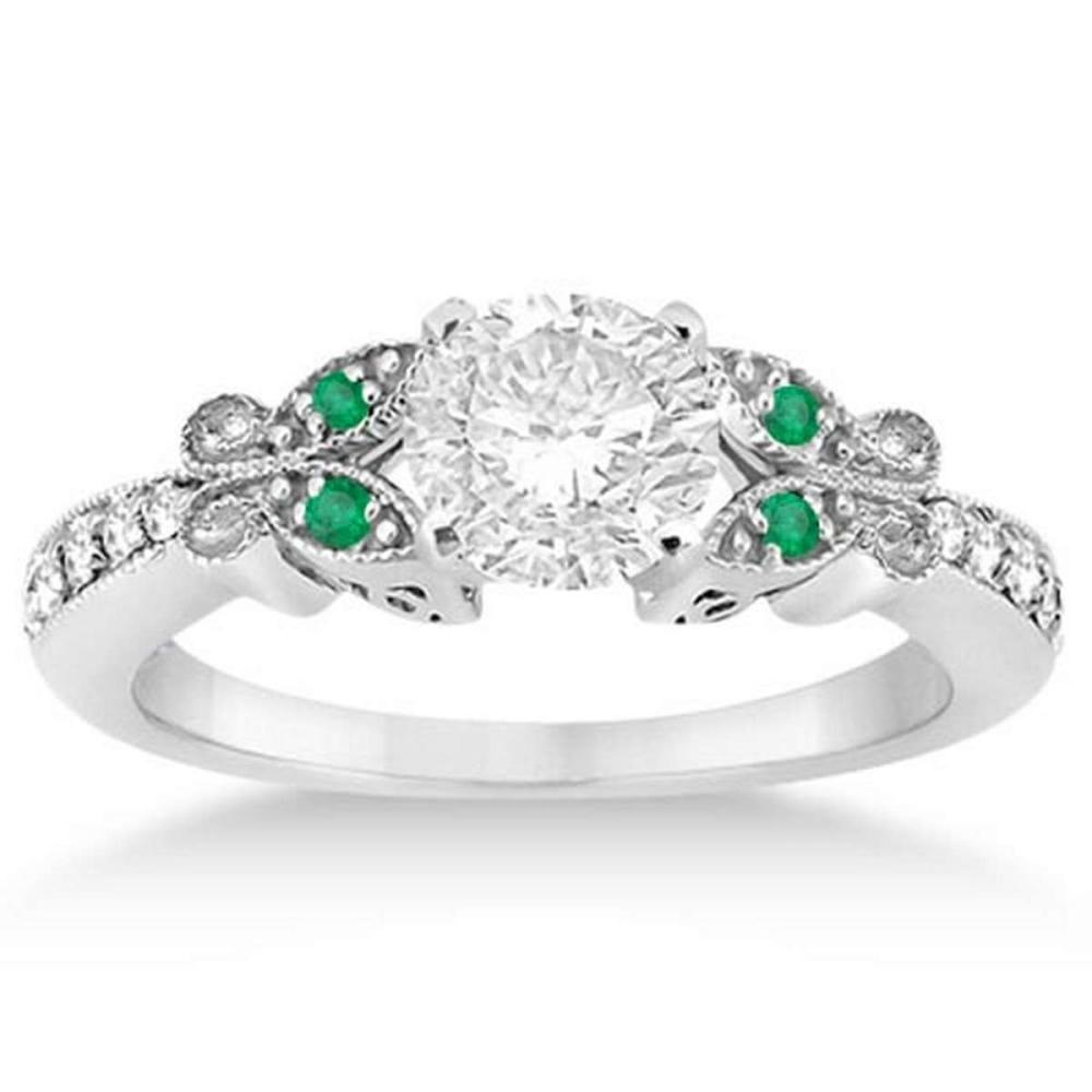 Butterfly Diamond and Emerald Engagement Ring 14k White Gold (1.20ct) #PAPPS20583