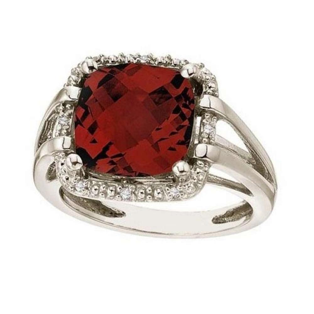 Cushion-Cut Garnet and Diamond Cocktail Ring 14k White Gold (8.05cttw) #PAPPS21365