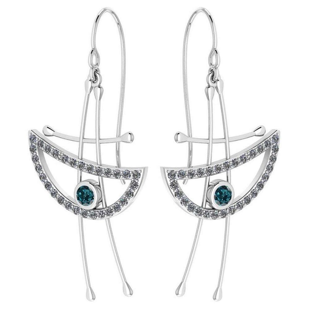 Certified 0.92 Ctw Treated Fancy Blue Diamond And White Diamond Eye Styles Wire Hook Earrings New Collection 18K White Gold #PAPPS19735