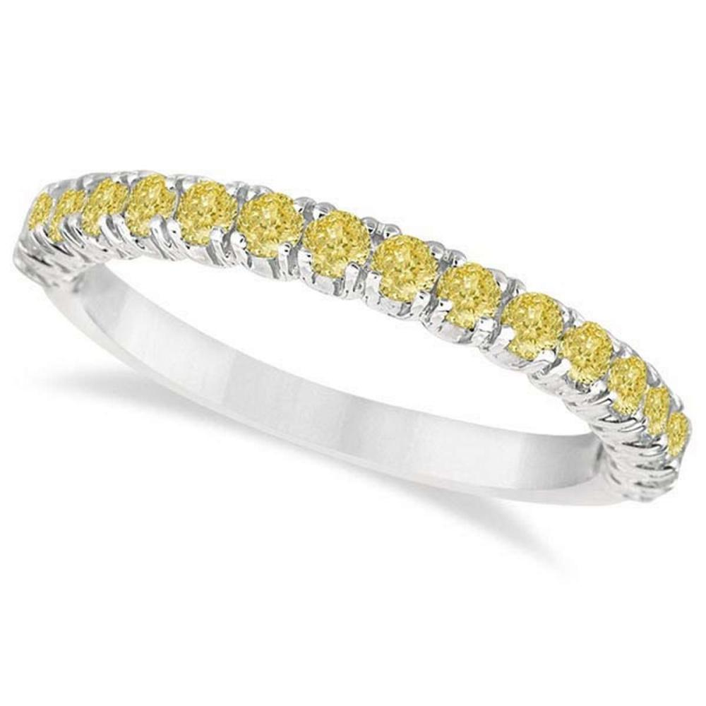 Half-Eternity Pave Yellow Diamond Stacking Ring 14k White Gold (0.75ct) #PAPPS21020
