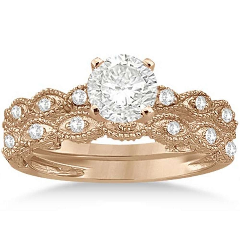 Antique Diamond Engagement Ring Set 18k Rose Gold (0.90ct) #PAPPS21039