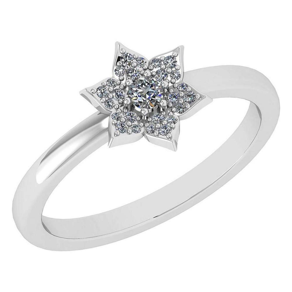 Certified .15 Ctw Diamond 14k White Gold Engagement Ring #PAPPS94873