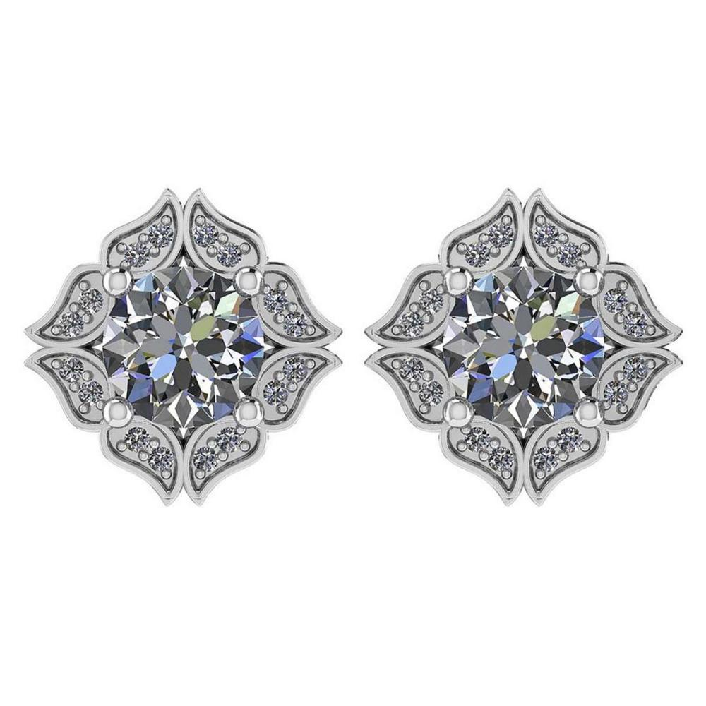 Certified .98 Ctw Diamond 14k White Gold Halo Stud Earring #PAPPS94877
