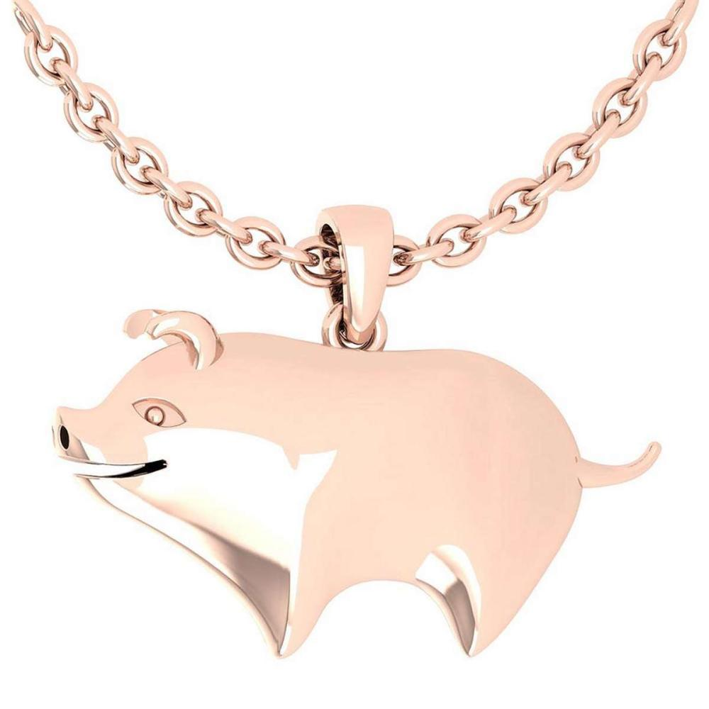 Gold Chinese Year of Pig Style Necklace 18K Rose Gold Made In Italy #PAPPS22267