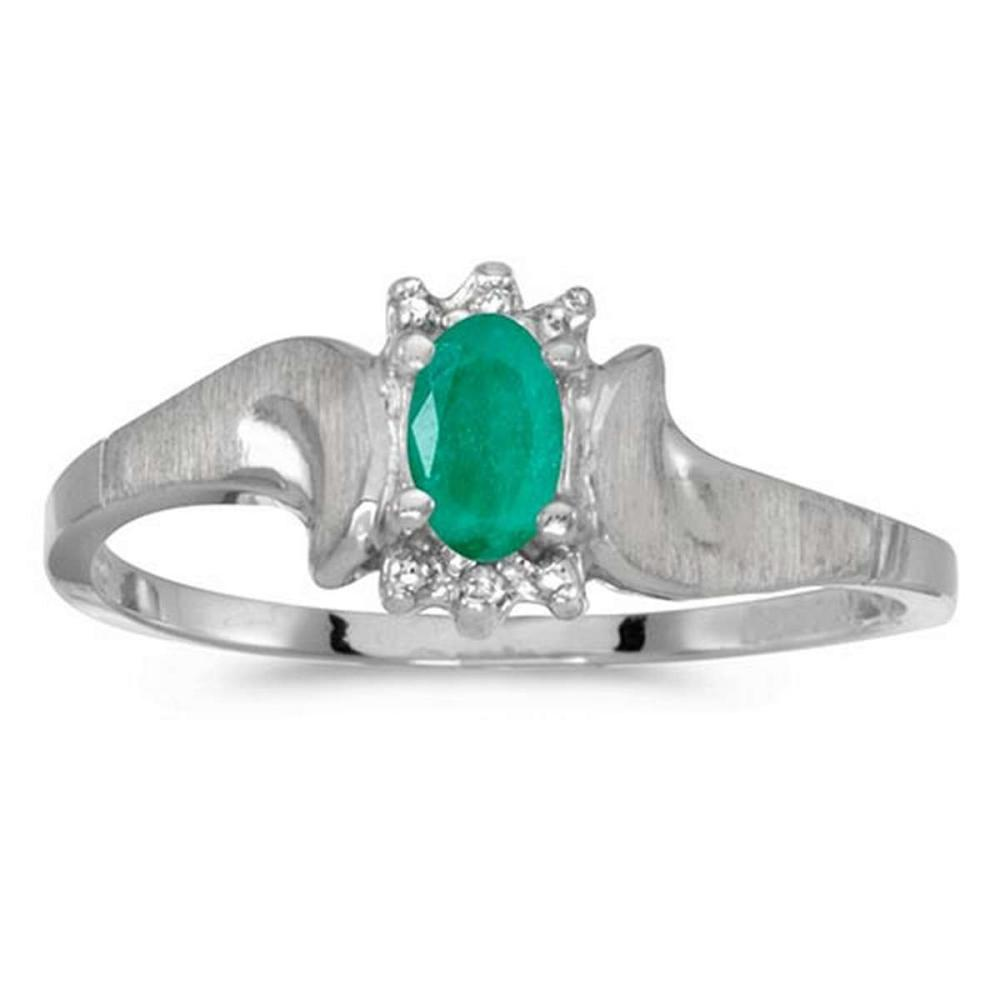 Certified 10k White Gold Oval Emerald And Diamond Satin Finish Ring #PAPPS50735