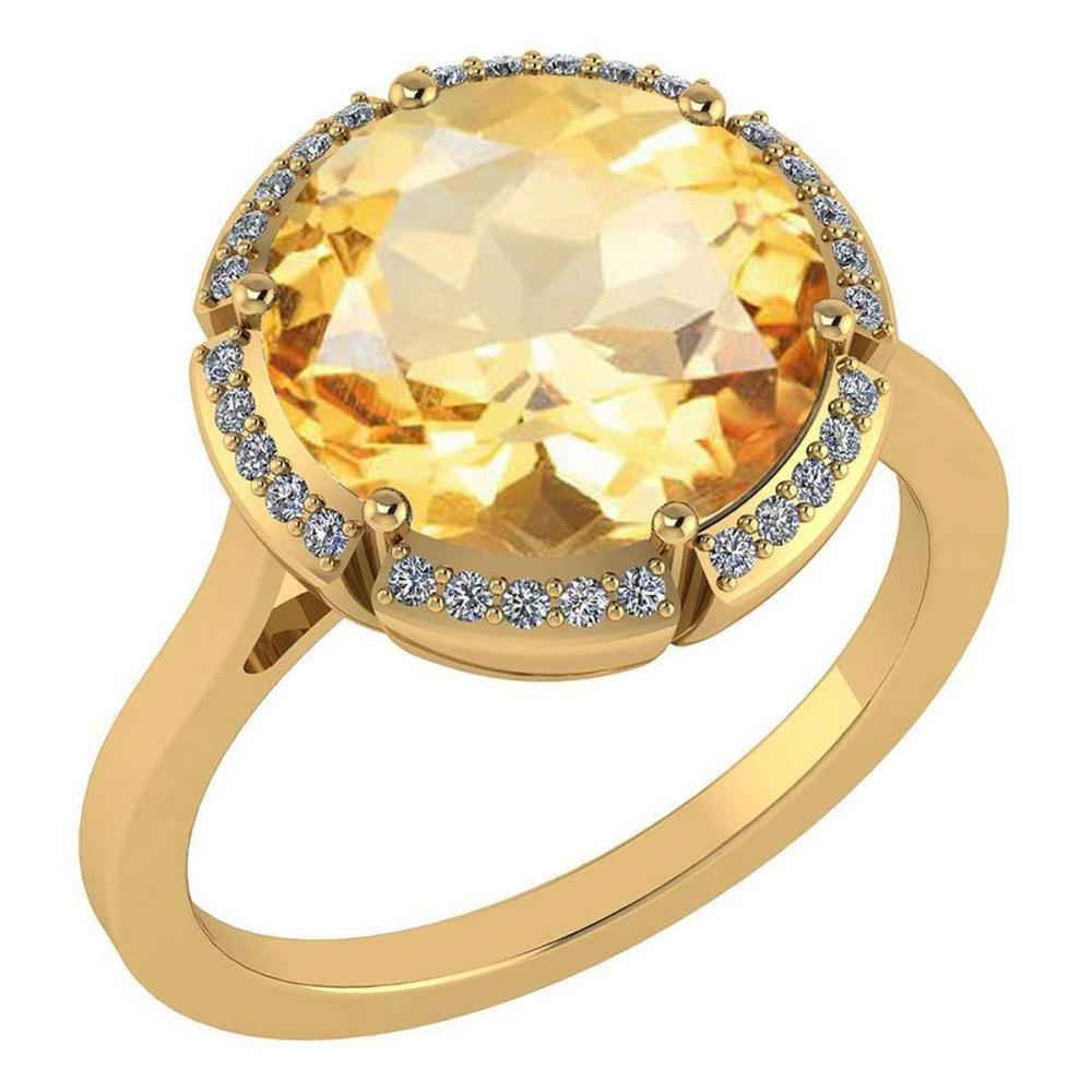 Certified 2.42 Ctw Citrine And Diamond VS/SI1 Halo Ring 14K Yellow Gold MADE IN USA #PAPPS21579