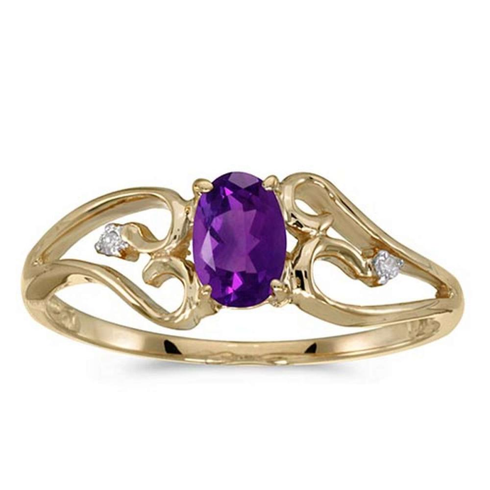 Certified 10k Yellow Gold Oval Amethyst And Diamond Ring #PAPPS50790