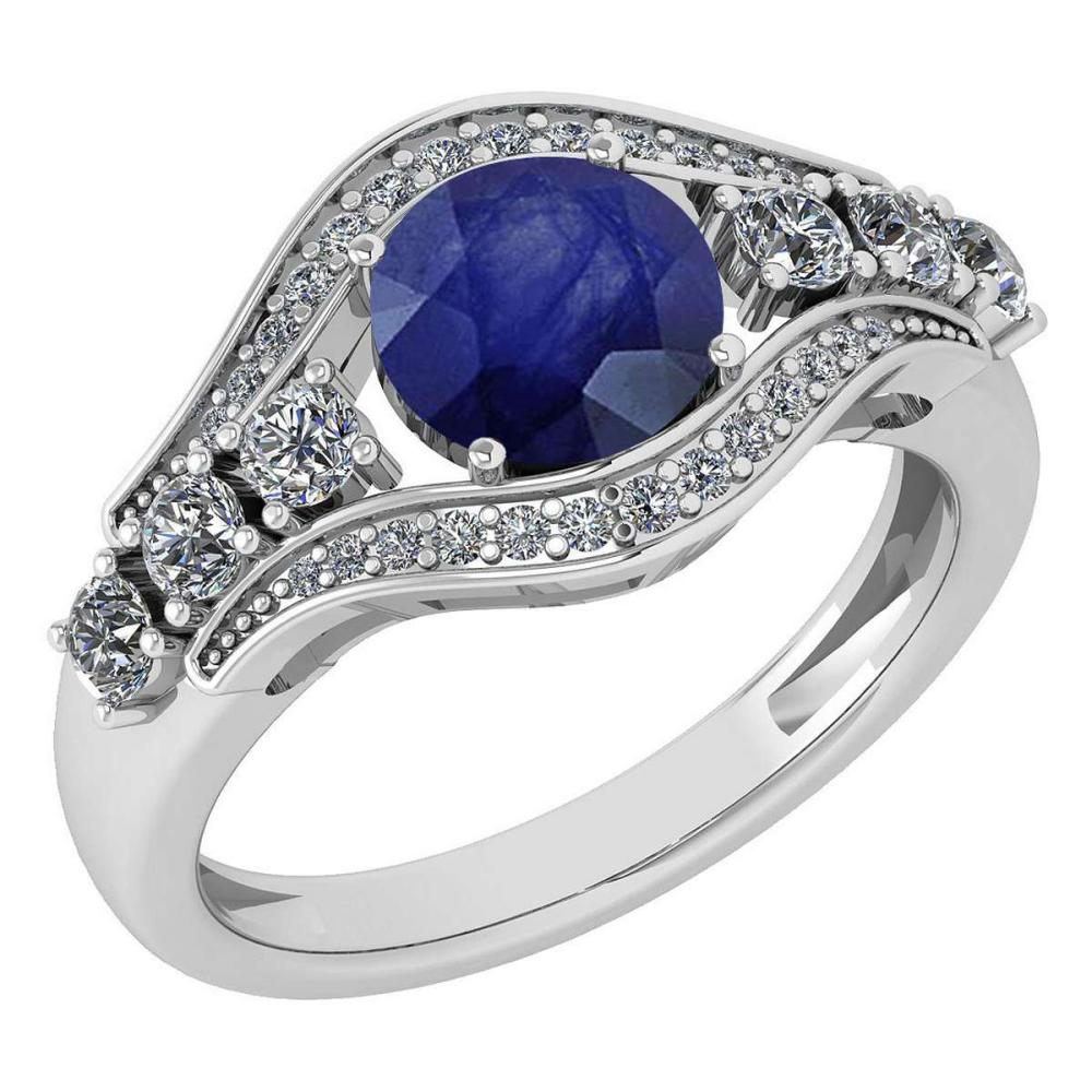 Certified 1.80 Ctw Blue Sapphire And Diamond Ladies Fashion Halo Ring 14K White Gold (VS/SI1) MADE IN USA #PAPPS21069