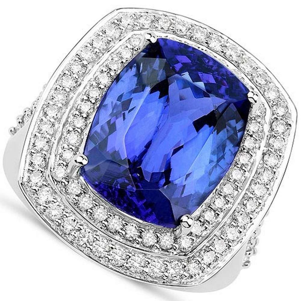 Certified 6.10 CTW Genuine Blue Sapphire And Diamond 14K White Gold Ring #PAPPS90782