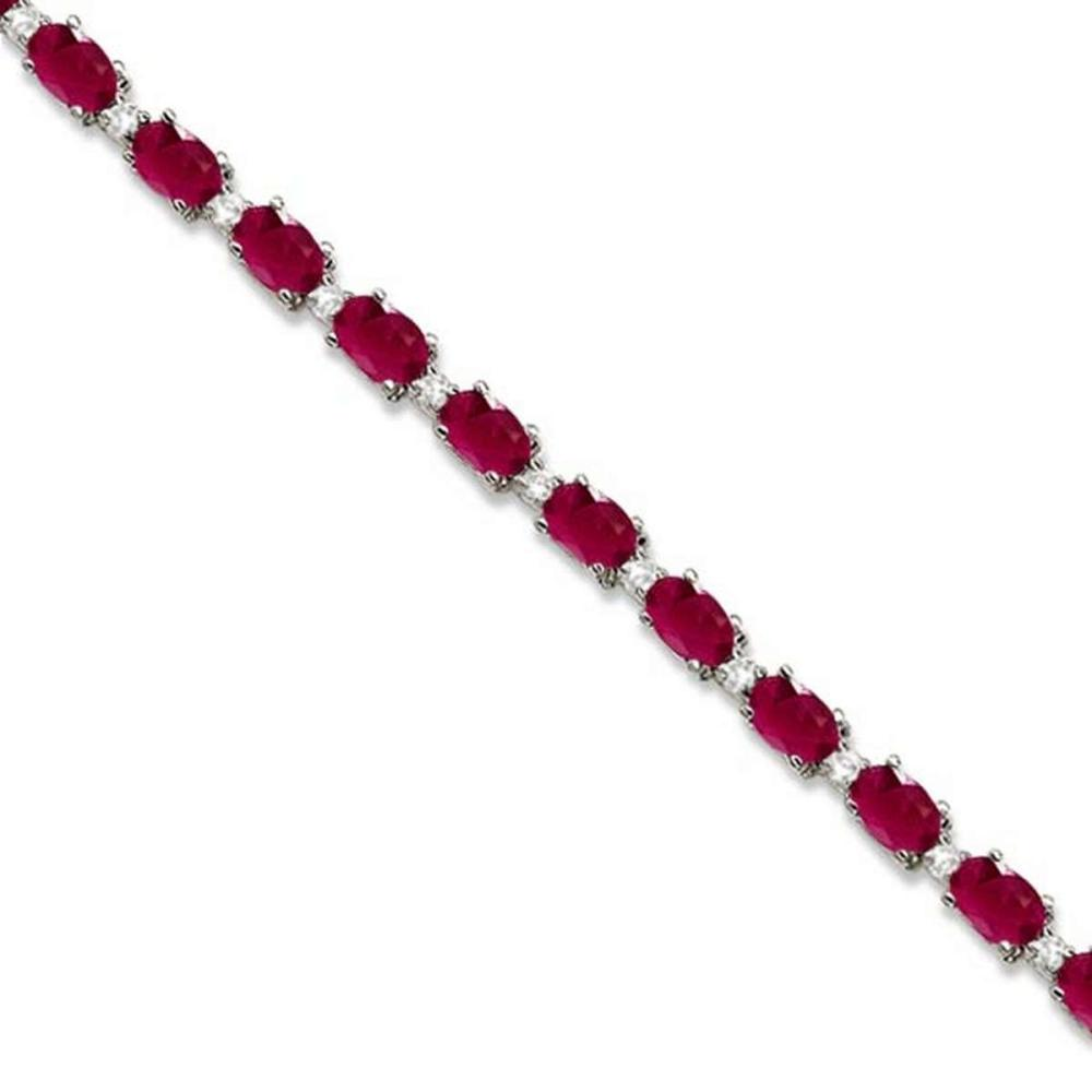 Ruby and Diamond Tennis Bracelet 14k White Gold (12.00ct) #PAPPS21352
