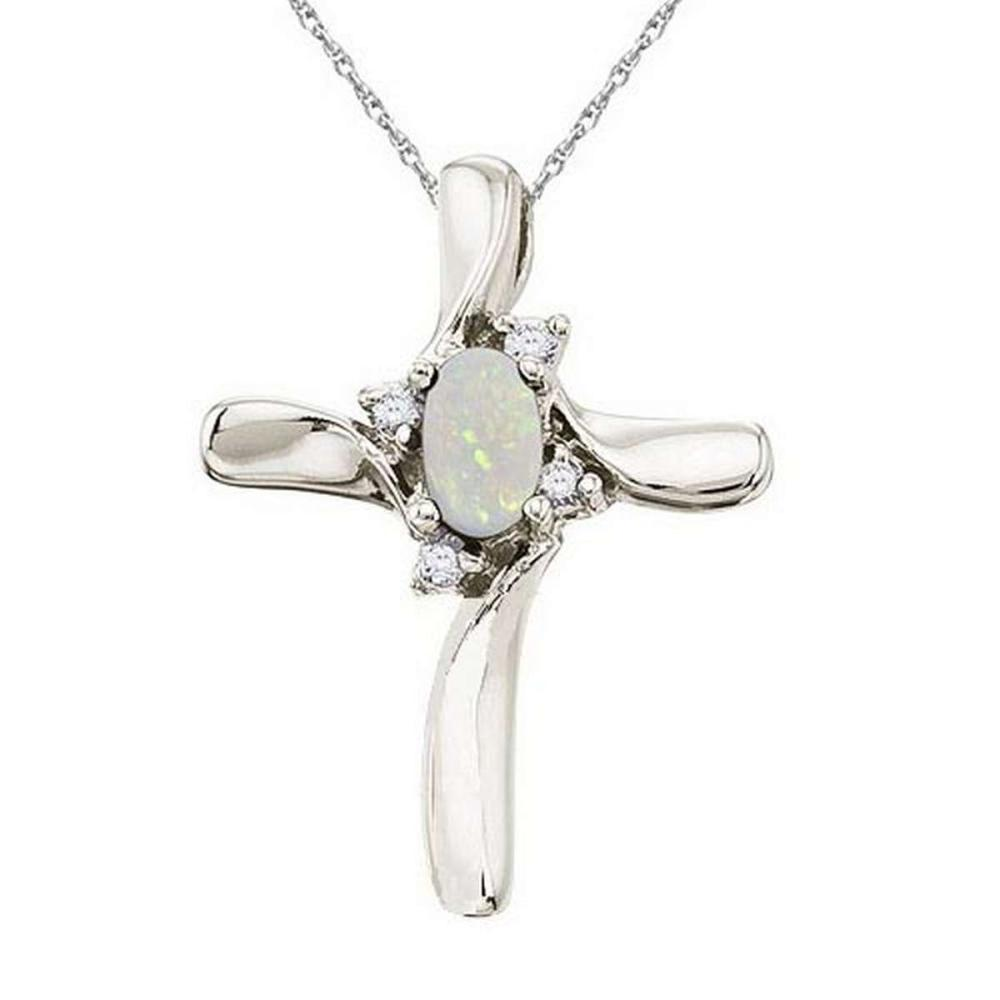 Opal and Diamond Cross Necklace Pendant 14k White Gold #PAPPS21350