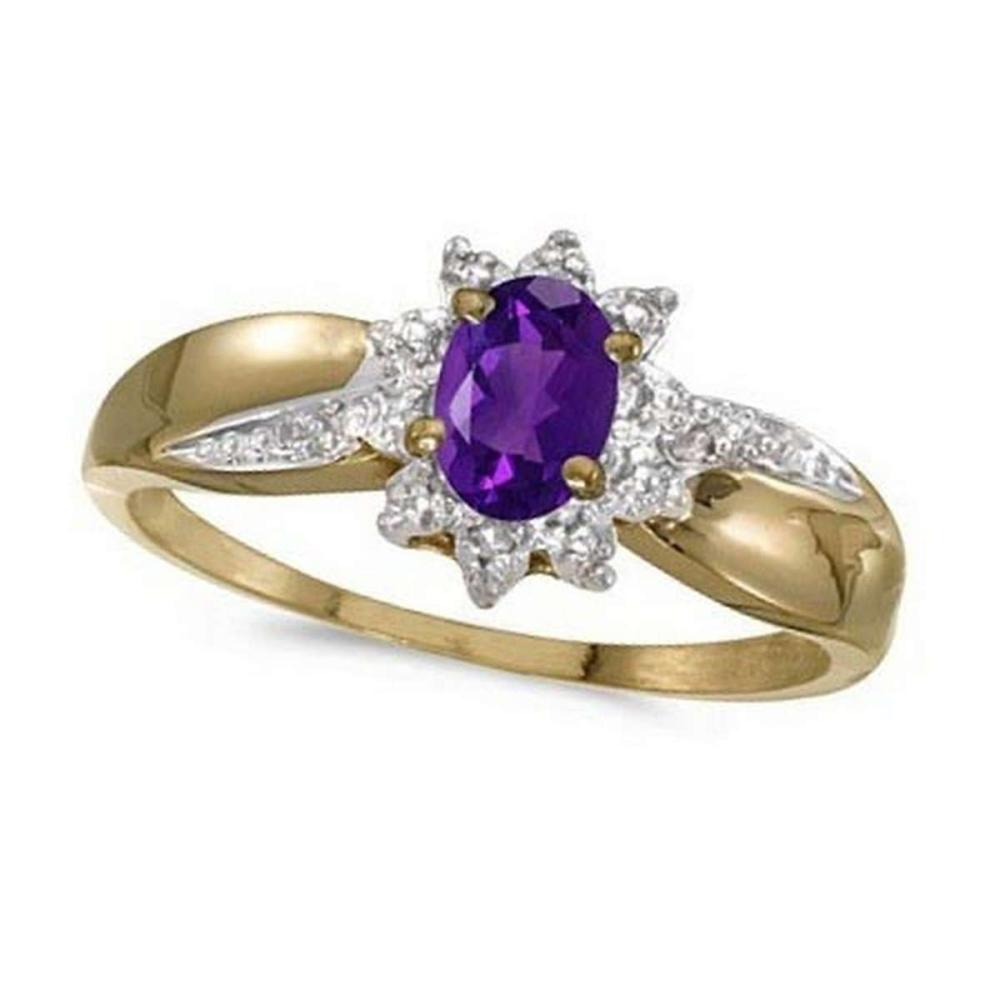 Amethyst and Diamond Right Hand Flower Shaped Ring 14k Yellow Gold (0.45ct) #PAPPS52483