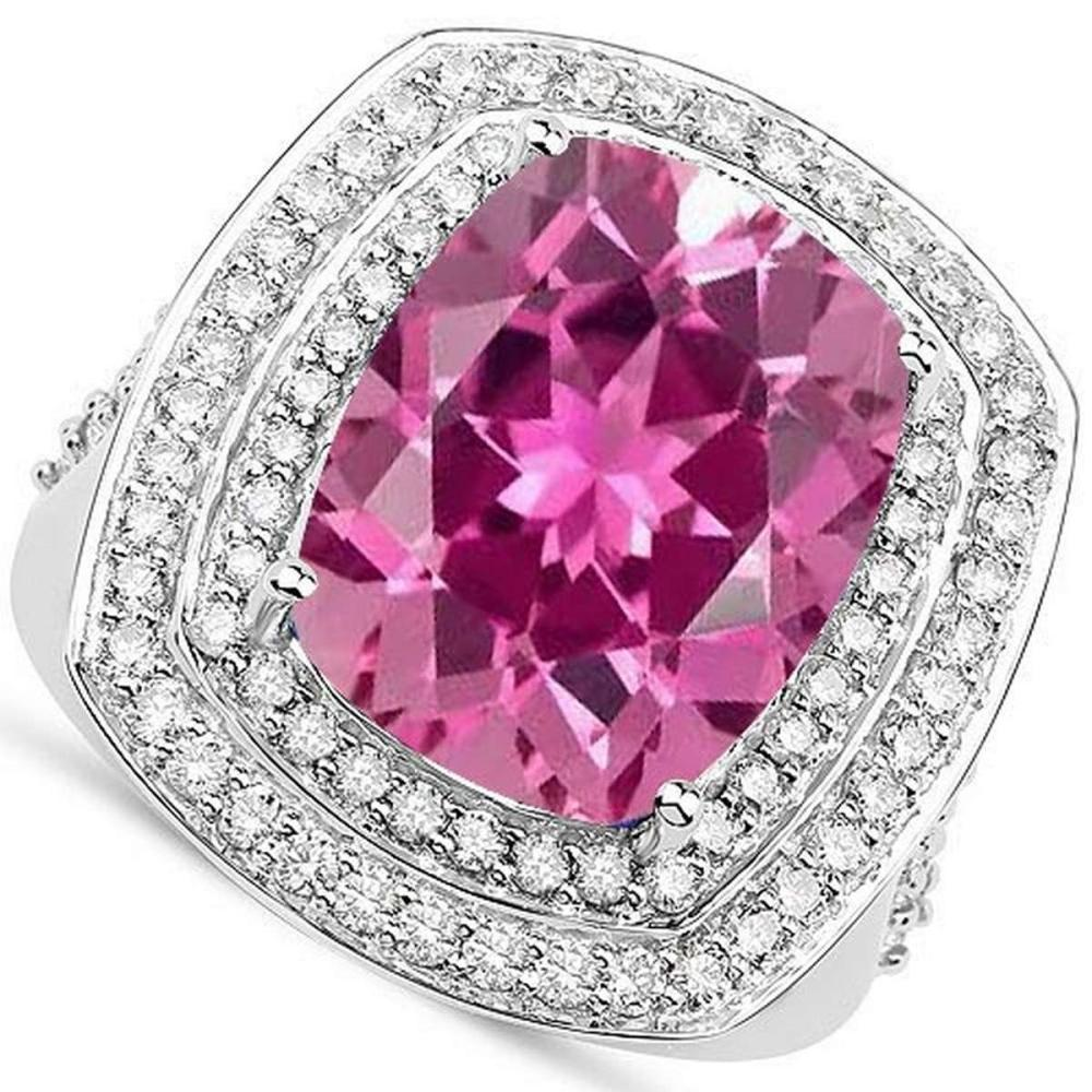 Certified 4.90 CTW Genuine Pink Troumaline And Diamond 14K White Gold Ring #PAPPS90783