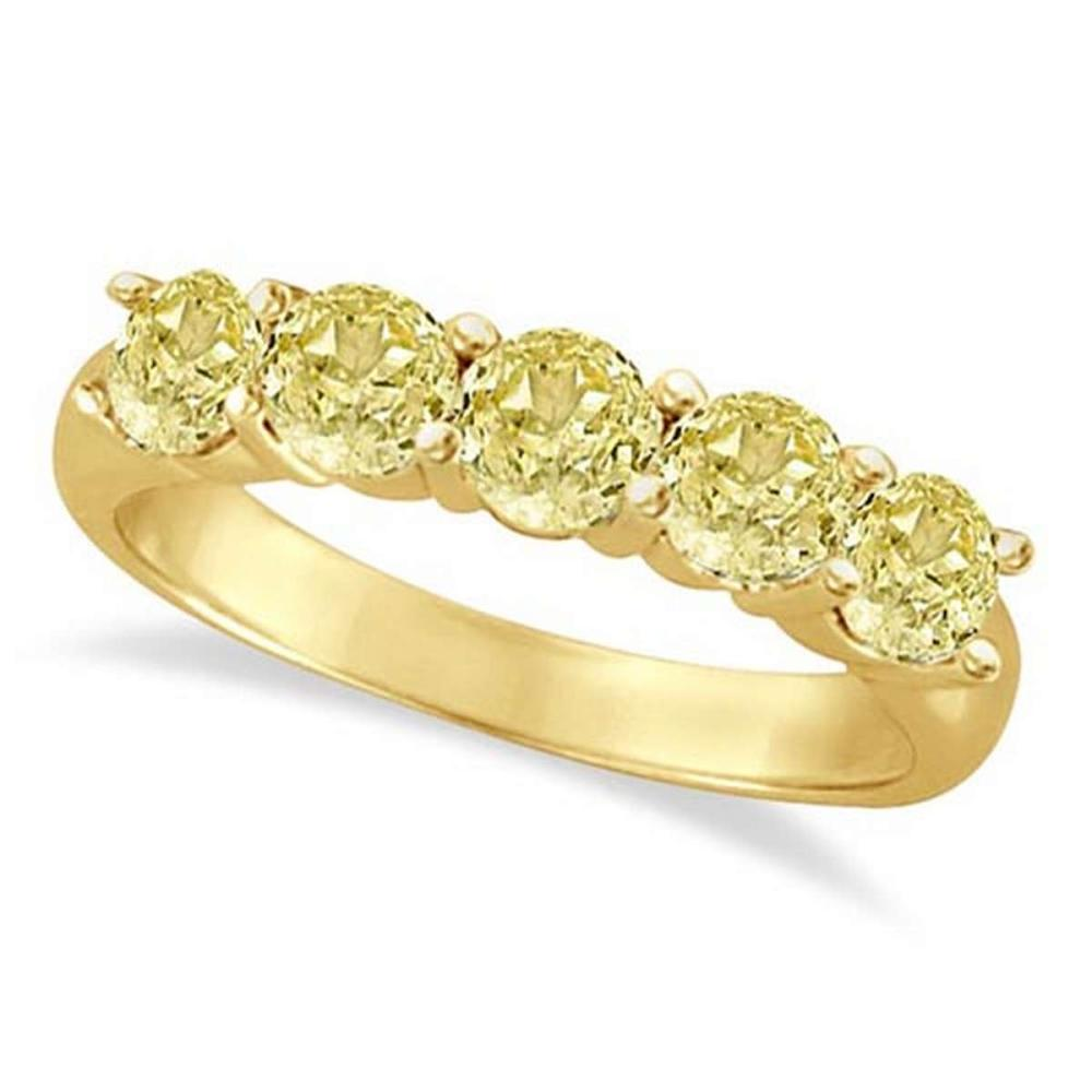Five Stone Fancy Yellow Canary Diamond Anniversary Ring 14k (1.50ct) #PAPPS52954