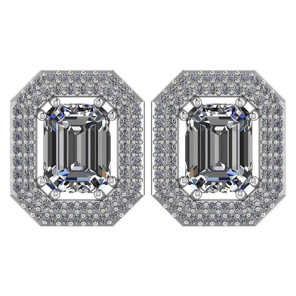 3.71 Ctw Diamond 14k White Gold Halo Stud Earrings VS/SI2 #PAPPS96019