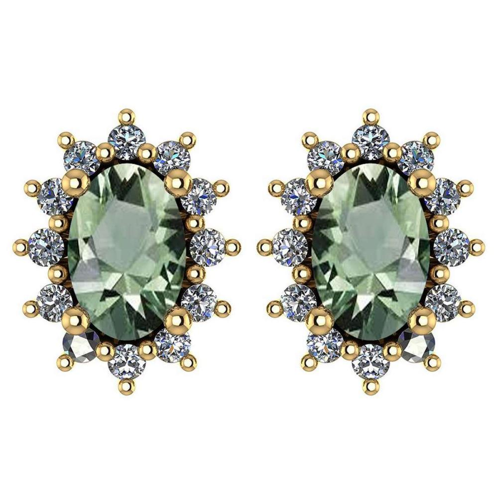 Certified 1.24 Ctw Green Amethyst And Diamond 18k Yellow Gold Halo Stud Earrings (VS/SI1) MADE IN USA #PAPPS20550