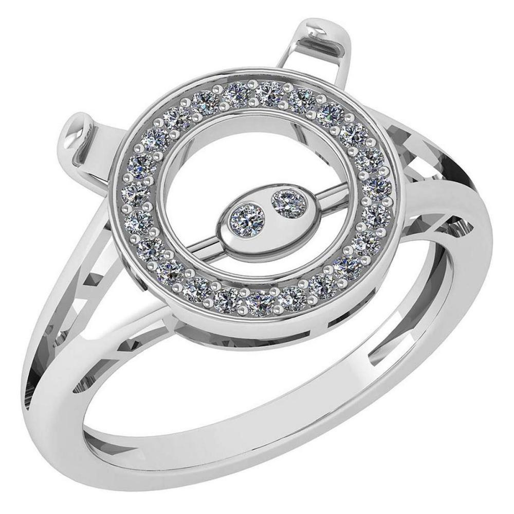 Certified 0.20 Ctw Diamond VS/SI1 Chinese Year of Pig Style Ring 18K White Gold Made In USA #PAPPS22284