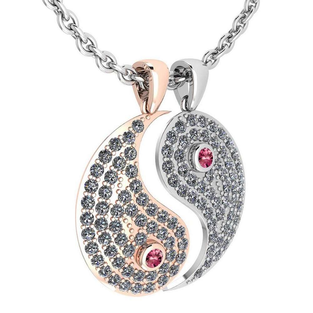 Certified 2.32 Ctw Pink Tourmaline And Diamond Couple Pendant New Expressions love collection 18K White And Rose Gold #PAPPS19724