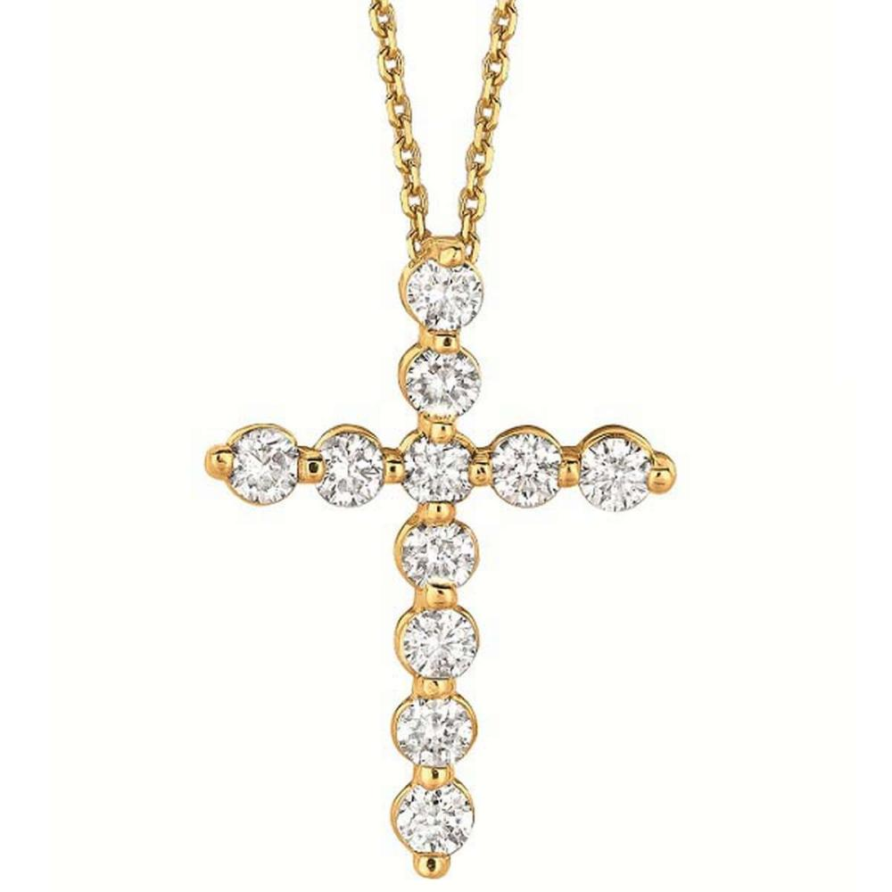 Diamond Cross Pendant Necklace in 14k Yellow Gold (1.01ct) #PAPPS20595