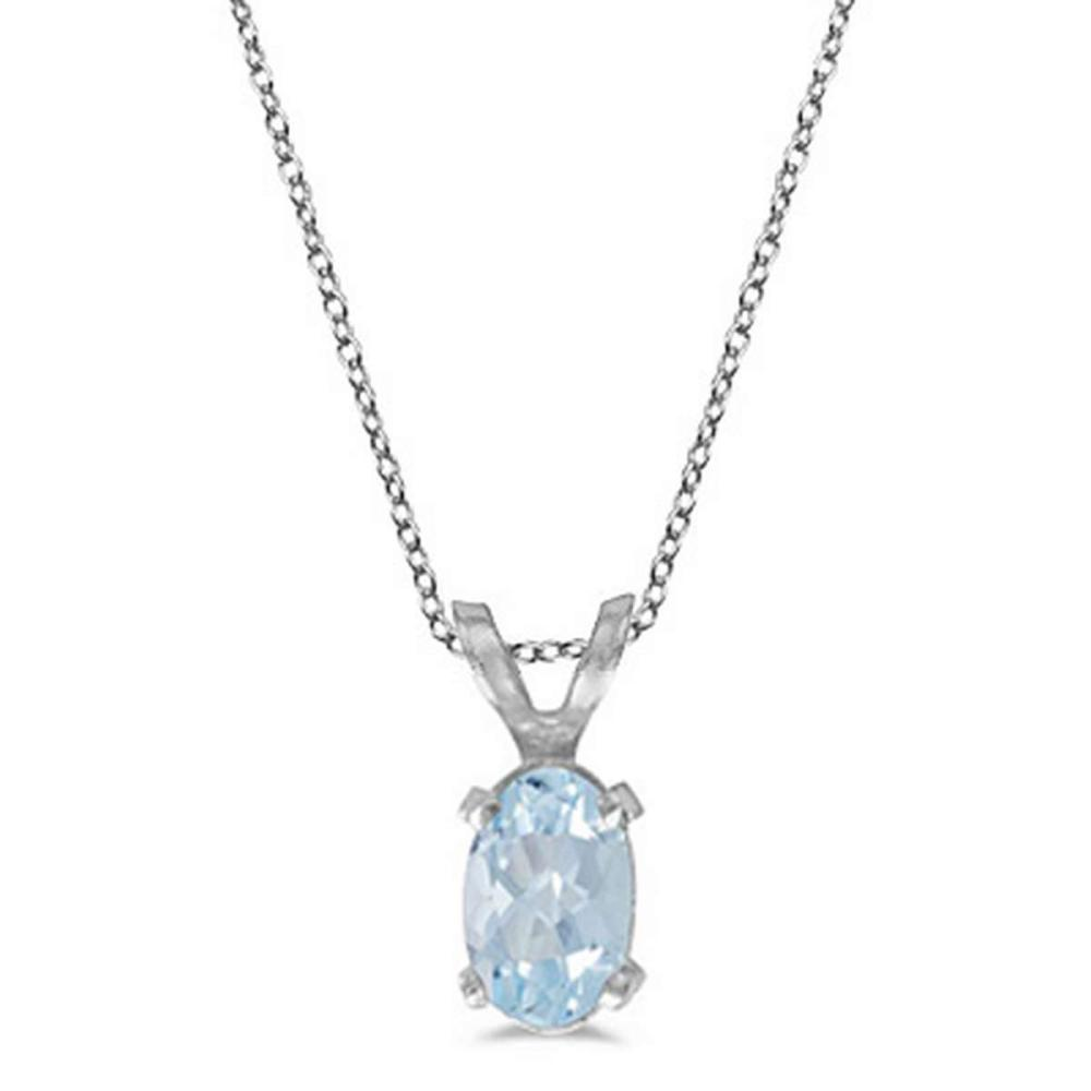 Oval Aquamarine Solitaire Pendant Necklace in 14K White Gold (0.40ct) #PAPPS52961