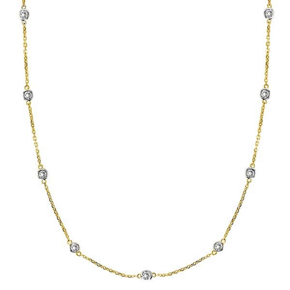 Diamonds by The Yard Bezel-Set Necklace in 14k Two Tone Gold (1.00ctw) #PAPPS21351
