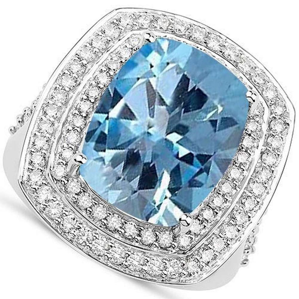 Certified 06. CTW Genuine Aquamarine And Diamond 14K White Gold Ring #PAPPS90781