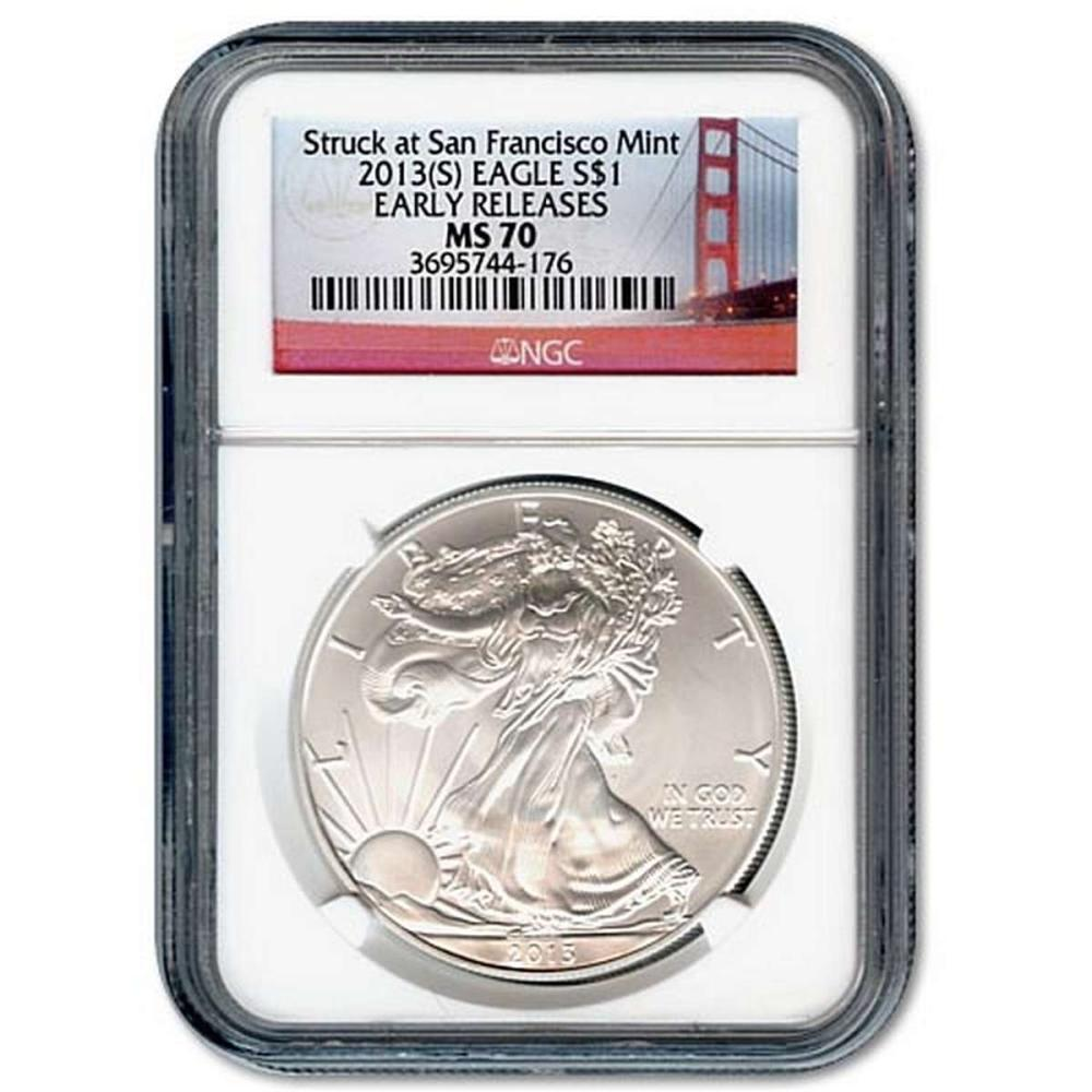 Certified Uncirculated Silver Eagle 2013(S) (Struck at the San Francisco Mint) MS70 Early Release #PAPPS84532
