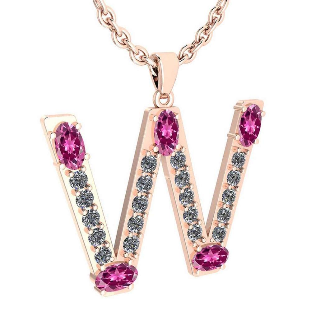 Certified 1.85 Ctw Pink Tourmaline And Diamond Alphabet W Pendant from the Valentines collection 14K Rose Gold (VS/SI1) MADE IN USA #PAPPS16828