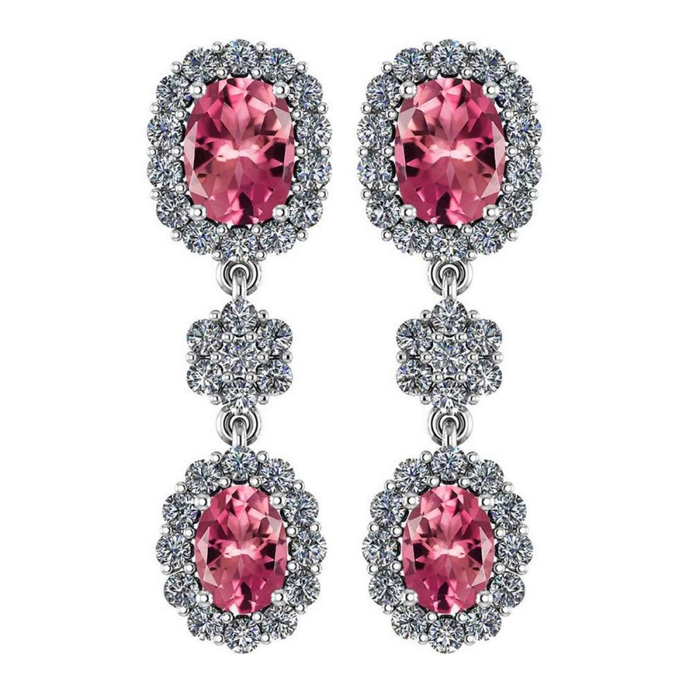 Certified 10.48 Ctw Pink Tourmaline And Diamond Hanging stud Earrings For beautiful ladies 18K White Gold #PAPPS19773