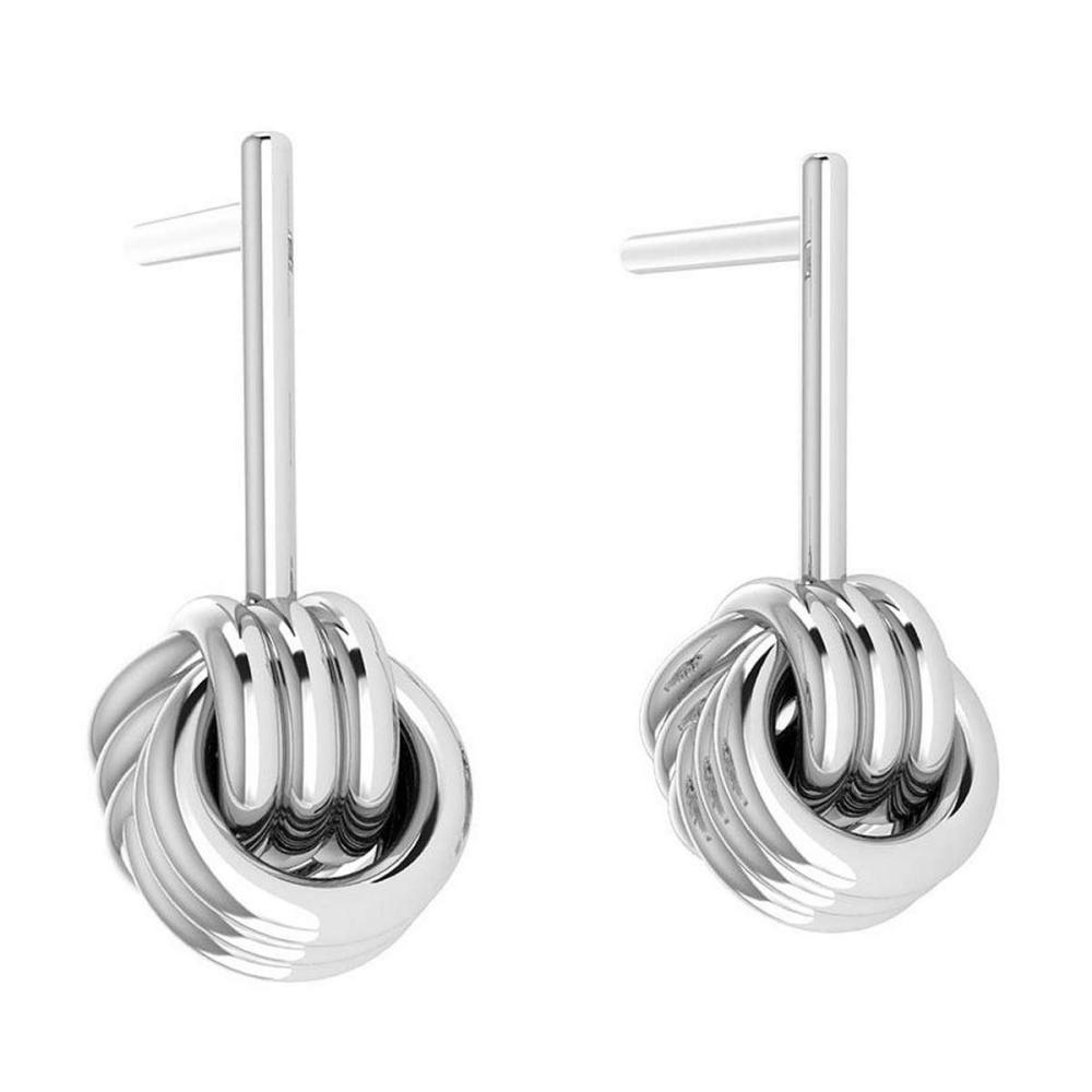 Gold Stud Earrings 14K White Gold Made In Italy #PAPPS22199