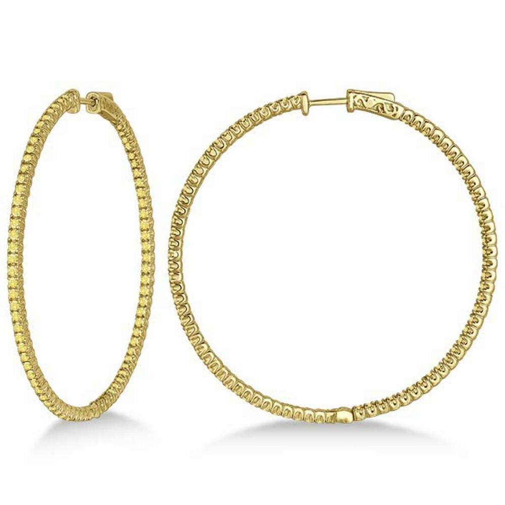 X-Large Yellow Canary Diamond Hoop Earrings 14k Yellow Gold (3.00ct) #PAPPS20848