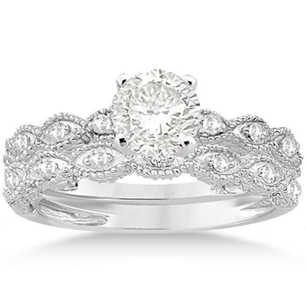 Antique Diamond Engagement Ring Set 14k White Gold (1.10ct) #PAPPS21347